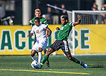 24 September 2016: University of Vermont Catamount Forward Bernard Yeboah, a Senior from Brescia, Italy, battles Dartmouth College Big Green Forward Eduvie Ikoba, a Sophomore from Bettendorf, Iowa, at Virtue Field in Burlington, Vermont. The teams played to an overtime 1-1 tie in front of an Alumni Weekend crowd of 1,710 fans. Mandatory Credit: Ed Wolfstein Photo *** RAW (NEF) Image File Available ***