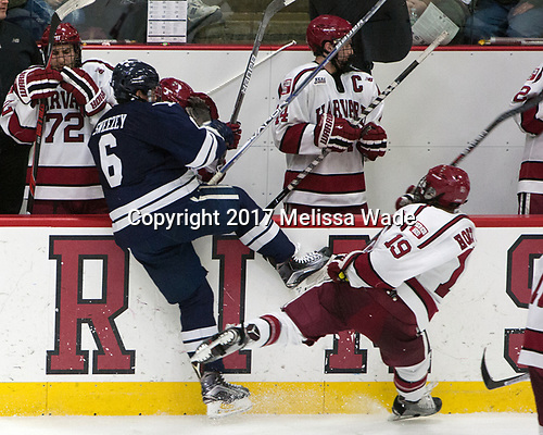 Billy Sweezey (Yale - 6), Jake Horton (Harvard - 19) - The Harvard University Crimson defeated the Yale University Bulldogs 6-4 in the opening game of their ECAC quarterfinal series on Friday, March 10, 2017, at Bright-Landry Hockey Center in Boston, Massachusetts.