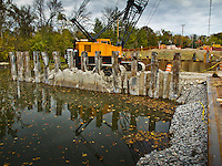Main Street Bridge construction over Alum Creek in Westerville OH.