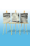 poster 001 easel,easels,display,three,3, three easels with face divided