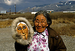 AK:  Alaska; Gates of the Arctic National Park, Anaktuvuk Pass, Eskimo mask, Suzy Paneak, model released        .Photos by Lee Foster, lee@fostertravel.com, www.fostertravel.com, (510) 549-2202.Image: akgate403