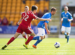 St Johnstone v Aberdeen...23.08.14  SPFL<br /> Chris Millar goes past Ryan Jack<br /> Picture by Graeme Hart.<br /> Copyright Perthshire Picture Agency<br /> Tel: 01738 623350  Mobile: 07990 594431