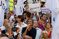 Roma 2 Luglio 2015<br /> Manifestazione della Lista Marchini davanti Palazzo Senatorio in Campidoglio, per chiedere le  dimissioni del Sindaco di Roma Ignazio Marino e le elezioni per un nuovo sindaco. Alfio Marchini.<br /> Rome, July 2, 2015<br /> Demostration of the  List Marchini in front the Senate Building on Capitol Hill, to demand the resignation of the Mayor of Rome Ignazio Marino and elections for a new mayor. Alfio Marchini.