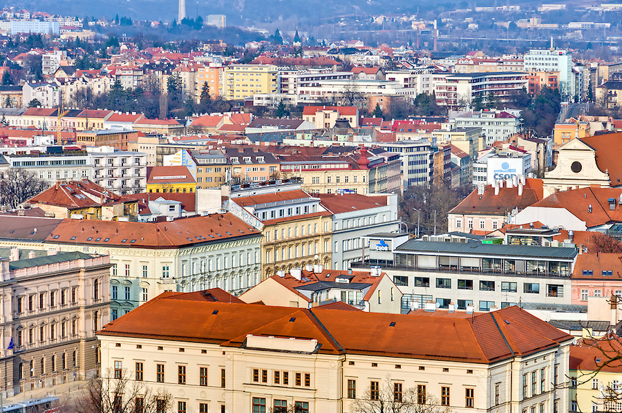 BRNO, CZECH REPUBLIC - MARCH 5th 2011: View of the historic center in Brno the Czech Republic. This is a very popular tourist destination.