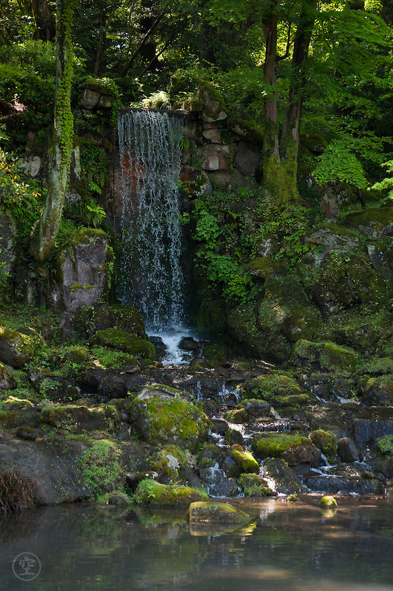 Midori Waterfall in Kenroken Garden is beautifully designed to look like a natural waterfall.