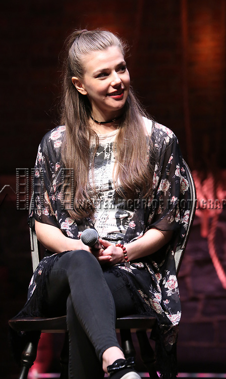 """Eliza Ohman from the 'Hamilton' cast during a Q & A before The Rockefeller Foundation and The Gilder Lehrman Institute of American History sponsored High School student #EduHam matinee performance of """"Hamilton"""" at the Richard Rodgers Theatre on 5/10/2017 in New York City."""