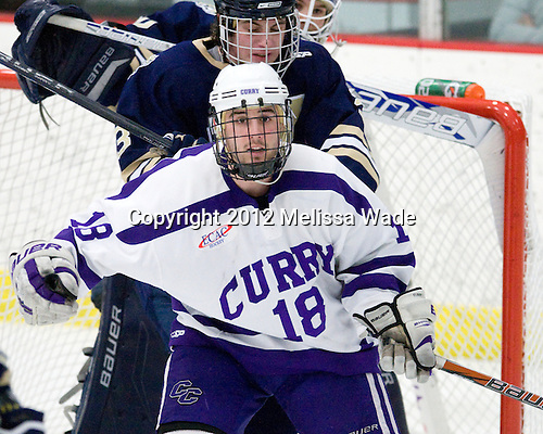 Logan McDougal (Johnson & Wales - 3), Michael Lopez (Curry - 18) - The Curry College Colonels defeated the Johnson & Wales University Wildcats 5-4 on Curry's senior night on Saturday, February 18, 2012, at Max Ulin Rink in Milton, Massachusetts.