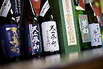 Photo shows some of the products brewed at Nakayu Sake Brewery in Kami Town, Miyagi Prefecture,  Japan on 02 Sept. 2012. Photographer: Robert Gilhooly