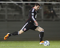 Chris Pontious(13) of D.C. United winds up for a shot  during a play-in game for the US Open Cup tournament against the Philadelphia Union at Maryland Sportsplex, in Boyds, Maryland on April 6 2011. D.C. United won 3-2 after overtime penalty kicks.