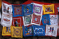 Mexican Embroidered hangings for sale in the village of Tzintzuntzan near Lake Patzcuaro, Michoacan, Mexico