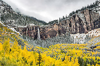Bridal Vail Falls in Telluride Colorado bathed in the colors of autumn.