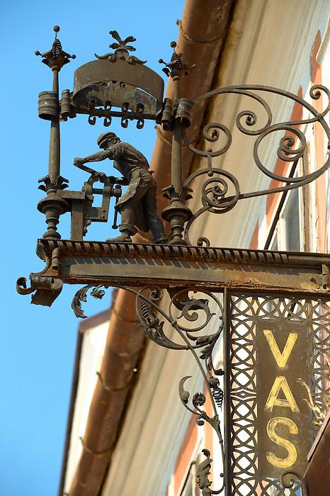 Blacksmiths (Vas) sign, K?szeg Hungary
