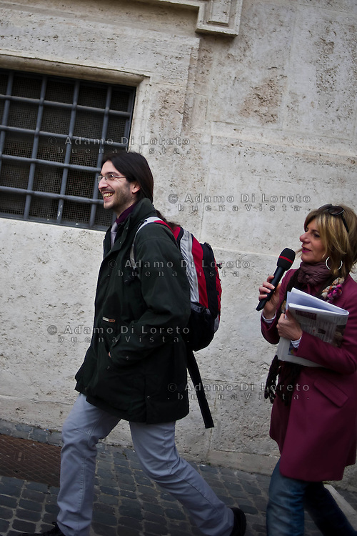 ROMA 15/03/2012: Inizia la XVII Legislatura della Repubblica Italiana. L'ingresso degli Onorevoli a Montecitorio. Nella foto Samuele Secondini M5S  FOTO DI LORETO ADAMO