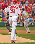 7 October 2016: Washington Nationals starting pitcher Max Scherzer steps back to the mound after serving up a solo home run to Los Angeles Dodgers infielder Corey Seager in the first inning of the NLDS Game 1 at Nationals Park in Washington, DC. The Dodgers edged out the Nationals 4-3 to take the opening game of their best-of-five series. Mandatory Credit: Ed Wolfstein Photo *** RAW (NEF) Image File Available ***