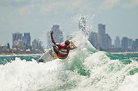 BURLEIGH HEADS, Queensland/Australia (Sunday, 12 February, 2012) Bede Durbidge (AUS) . – The Breaka Burleigh Pro wrapped  up  today with  2 - 3 foot (1.5 meter) waves rolling down the Burleigh Heads rock break. In an all World Championship Tour final Julian Wilson (AUS) held off a late charge from Josh Kerr (AUS) to take first place with Mick Fanning (AUS) in third and Bed Durbidge (AUS) in fourth.. The Breaka Burleigh Pro was a 4-Star rated ASP World Tour event offering USD$95,000 prize money and valuable points towards the surfer's ASP World Rankings.  Photo: joliphotos.com