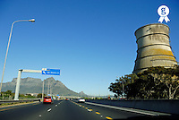 Table Mountain and chimney from highway (Licence this image exclusively with Getty: http://www.gettyimages.com/detail/94433127 )