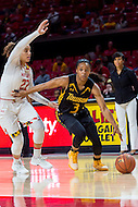 College Park, MD - DEC 6, 2016: Towson Tigers guard Sianni Martin (3) drives by Maryland Terrapins guard Blair Watson (22) on her way to the basket during game between Towson and Maryland at XFINITY Center in College Park, MD. The Terps defeated the Tigers 97-63. (Photo by Phil Peters/Media Images International)