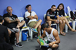 Blue locker room scene<br />