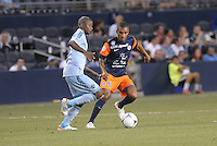 Joris Marveaux (6) midfield Montpellier, Julio Cesar (55) midfield Sporting KC..Sporting Kansas City were defeated 3-0 by Montpellier HSC in an international friendly at LIVESTRONG Sporting Park, Kansas City, KS..