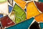 Close-up of broken fragments of glass on the roof of Antoni Gaudi's La Casa Batllo, Barcelona, Spain