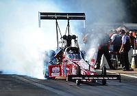 Aug. 19, 2011; Brainerd, MN, USA: NHRA top fuel dragster driver Scott Palmer during qualifying for the Lucas Oil Nationals at Brainerd International Raceway. Mandatory Credit: Mark J. Rebilas-