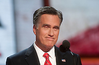 TAMPA, FL - August 30, 2012: Republican Presidential nominee Mitt Romney after his speech on the final night of the 2012 Republican National Convention. <br />