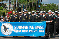 Officers and sailors attached to Naval Base Point Loma Submarine Base march in downtown San Diego during the Veterans Day Parade, Saturday November 10 2007.