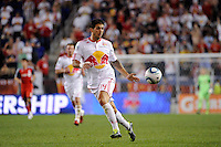 Carlos Mendes (44) of the New York Red Bulls. The New York Red Bulls defeated Toronto FC 5-0 during a Major League Soccer (MLS) match at Red Bull Arena in Harrison, NJ, on July 06, 2011.