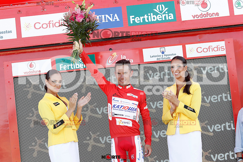 Joaquin Purito Rodriguez with the leader's red jersey after the stage of La Vuelta 2012 between Huesca and Motorland Aragon (Alcaniz).August 24,2012. (ALTERPHOTOS/Acero) /NortePhoto.com<br />