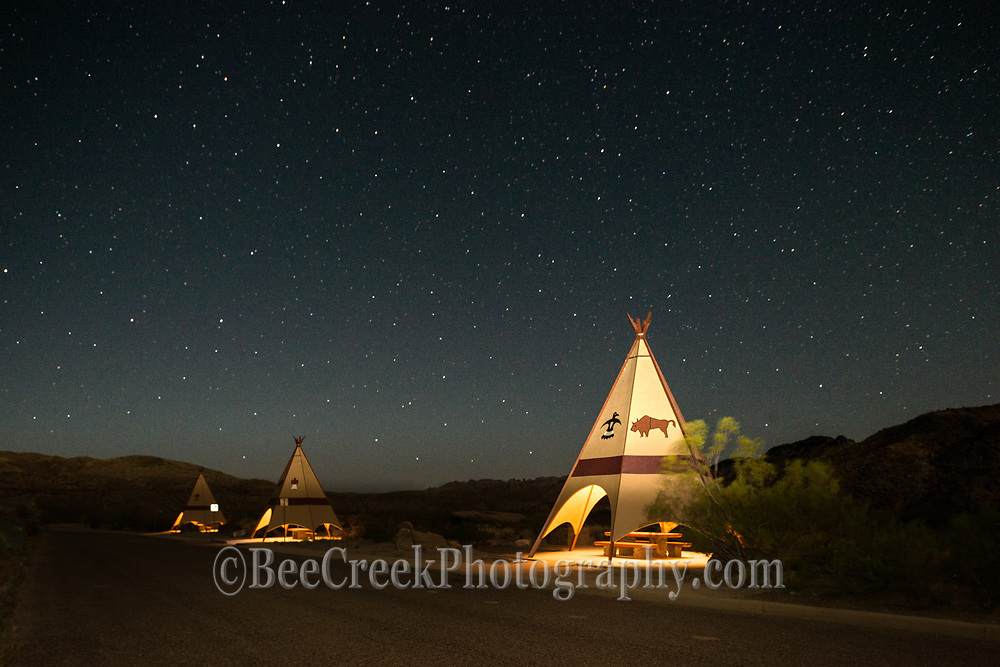 We took these teepees to show all these wonderful stars at night along with the picnic teepees that have been in the Big Bend State Park since forever. We wanted the teepees to show in the photo so we did some light painting which contrast nicely with the dark sky to get this effect.