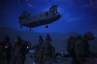 A Chinook transport helicopter arrives at Forward Operating Base Joyce in Eastern Afghanistan. As NATO draws back their troops and air assets, the Afghan National Army will be faced with the impossible logistical task of resupplying their soldiers in the most remote areas of the country (such as the rugged Eastern provinces that border Waziristan). The lack of air support will also provide the Taliban a psychological advantage over the ANSF, as they try to overrun combat outposts around the country, effectively taking over previously controlled security bubbles.