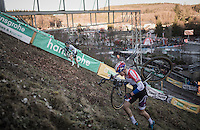 Wout Van Aert (BEL/Crelan-Vastgoedservice) &amp; Mathieu Van der Poel (NED/Beobank-Corendon) in a direct duel for 1st place up the steep Wall<br /> <br /> 2016 CX Superprestige Spa-Francorchamps (BEL)