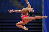 Daria Kondakova of Russia performs with ribbon at 2010 Pesaro World Cup on August 27, 2010 at Pesaro, Italy.  Photo by Tom Theobald.