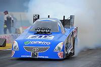 Nov. 10, 2011; Pomona, CA, USA; NHRA funny car driver Terry Haddock during qualifying at the Auto Club Finals at Auto Club Raceway at Pomona. Mandatory Credit: Mark J. Rebilas-.