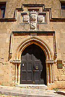Entrance to a Medieval lodge of Knights, today the Club of Rhodes, Rhodes, Greece, UNESCO World Heritage Site