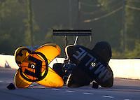 May 18, 2014; Commerce, GA, USA; A rear view of the parachutes on NHRA top fuel driver Terry McMillen during the Southern Nationals at Atlanta Dragway. Mandatory Credit: Mark J. Rebilas-USA TODAY Sports