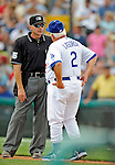 12 March 2008: Los Angeles Dodgers' interim manager Tommy Lasorda has words with an umpire at a Spring Training game between the Washington Nationals and the LA Dodgers at Holman Stadium, in Vero Beach, Florida. Lasorda is replacing manager Joe Torre who is traveling to China with a group of Dodger players for an exhibition series of games. The Nationals defeated the Dodgers 10-4 at the historic Dodgertown ballpark. 2008 marks the final season of Spring Training at Dodgertown for the Dodgers, as the team will move to new training facilities in Arizona starting in 2009 after 60 years in Florida...Mandatory Photo Credit: Ed Wolfstein Photo