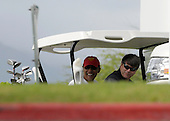 Kailua, Hawaii - December 29, 2008 -- United States President-elect Barack Obama (left) and friend Greg Orme (right) wait to warm up on the driving range to play golf with friends in Kailua, Hawaii on Monday, December 29, 2008. Obama and his family arrived in his native Hawaii December 20 for the Christmas holiday..Credit: Joaquin Siopack - Pool via CNP