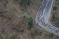 peloton descending the highest point of the course: the Passo Del Turchino (532m)<br /> <br /> 108th Milano - Sanremo 2017