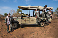 Botswana, Chobe Gamer Lodge. The launch of the first fleet of electric game viewing vehicles and boats. All 15 guides here at the Chobe Game Lodge are women and run the vehicles.