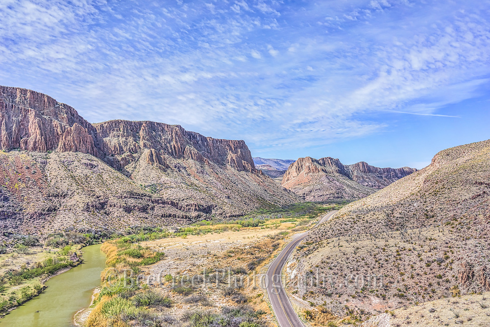 This is another aerial view of the landscape of the Rio Grande as it runs through Big Bend State park you can see the river road as it runs along side of the river.
