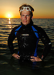 Marathon swimmer Jim Dreyer of Michigan trains for an attempt to swim across Lake Superior. Photo by Dan Irving.