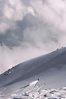Gulmarg, Kashmir. A snowboarder charges down the virgin slopes of Mount Arphawat (4124M) which is got to from the top of the Gulmarg gondola (3980m). The gondola which opened in 2005 is the worlds highest and has been drawing snowboarders and skiers from around the world. Gulmarg is only 10km from the line of control that seperates Pakistan Kashmir from Indian Kashmir which means its situated in a conflict area. But improved relations between the two countries as well as a peace process within Kashmir have meant more skiers are now flocking to the area for what is said to be some of the best skiing in the world.