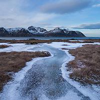 Frozen moorland in winter, Grundstad, Vestvågøy, Lofoten Islands, Norway