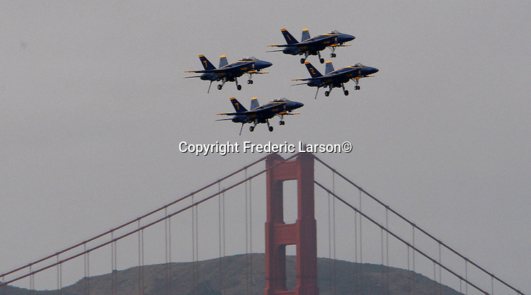 The U.S. Navy's precision flight demonstration team, the Blue Angels, practice over the San Francisco Bay Golden Gate Bridge as seen from Marina Greens.