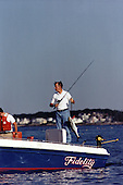 United States President George H.W. Bush goes fishing from his boat &quot;Fidelity&quot; at his summer vacation home in Kennebunkport, Maine on August 8, 1991.<br /> Mandatory Credit: David Valdez / White House via CNP