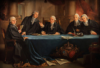 Portrait of the judge and council of 1785-86 of the Stock Exchange, at a meeting in the Courtroom, painting, 1787, by Pierre Lacour, 1745-1814, in the Musee d'Aquitaine, Cours Pasteur, Bordeaux, Aquitaine, France. Depicted are the 5 magistrates of the Consular Jurisdiction of Bordeaux, all rich merchants, (left-right) 3rd Consul Hugues Vignes, 1st Consul Jacques Barthelemy Gramont Castera, Judge Jean Dutasta, 2nd Consul Guillaume Louvoye and 4th Consul Pierre Loriague. Picture by Manuel Cohen
