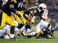 Vince Williams #98 of the Pittsburgh Steelers recovers a fumble in the second half against the Indianapolis Colts during the game at Heinz Field on December 6, 2015 in Pittsburgh, Pennsylvania. (Photo by Jared Wickerham/DKPittsburghSports)