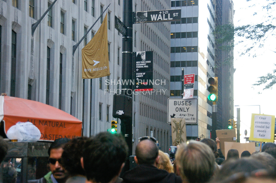 Protester march down Broadway, towards Wall Street,  during the Occupy Wall Street Protest in New York City October 6, 2011.