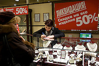 A jewellery store in Moscow discounts all goods by 50 percent due to the financial crisis..Picture by Justin Jin.
